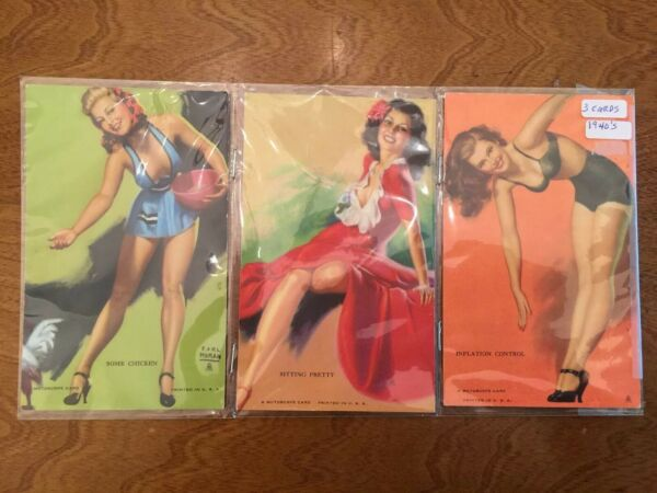 Set of 3 Vintage 1940s Mutoscope arcade Cards Good girl pinup Some Chicken