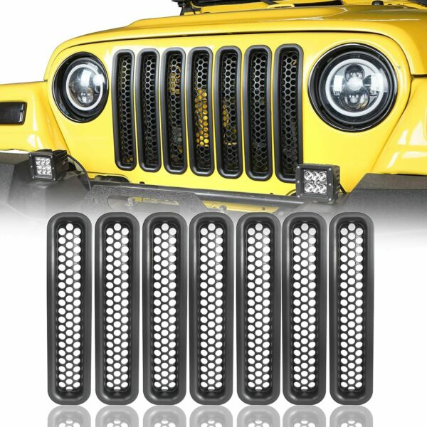 Honeycomb Front Grille Covers Insert Mesh Grill For Jeep Wrangler TJ 1997-2006