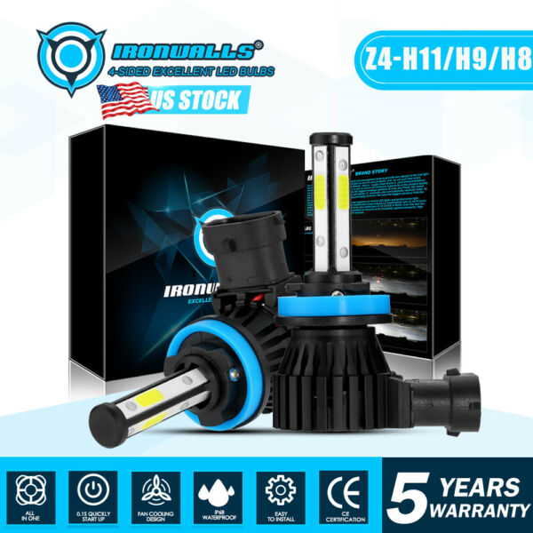 IRONWALLS H11 LED Headlight Super Bright Bulbs Kit 330000LM HI/LO Beam 6000K New