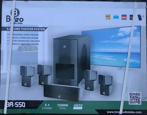Breo Audio Labs 5.1 Home Theater System 1500 Watts Surround Sound NEW
