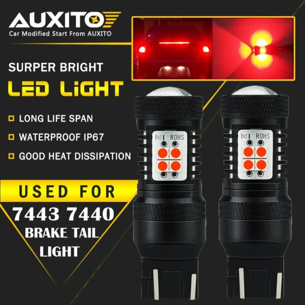 2X 7444 7443R 7440 Safety Brake Tail Stop Light  High Power Super RED Bulbs EA