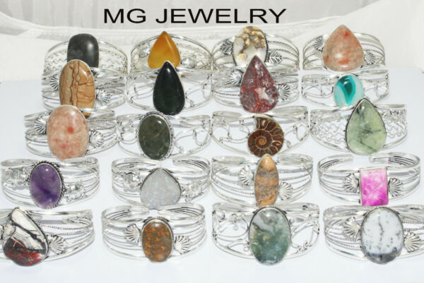 Sale 50 Pcs Natural Adjustable Cuff Bangles Lot Mix Gemstone 925 Silver Plated