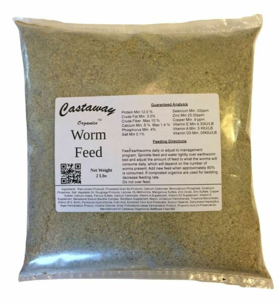 Castaway Organics Worm Food (2 lbs) Chow For Composting and Baitworms