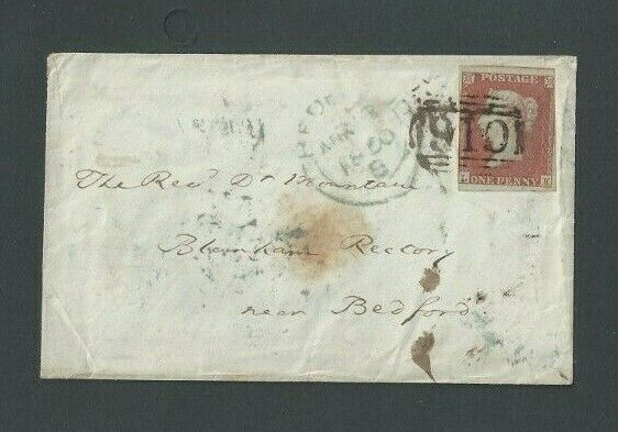 1850 Great Britain #3a Orange Brown On Cover WGreen & Black Cancels