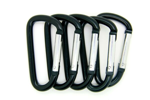 Pack of 6 pcs 3quot; Aluminum Carabiner Spring Belt Clip Key Chain D Shape Black $7.50