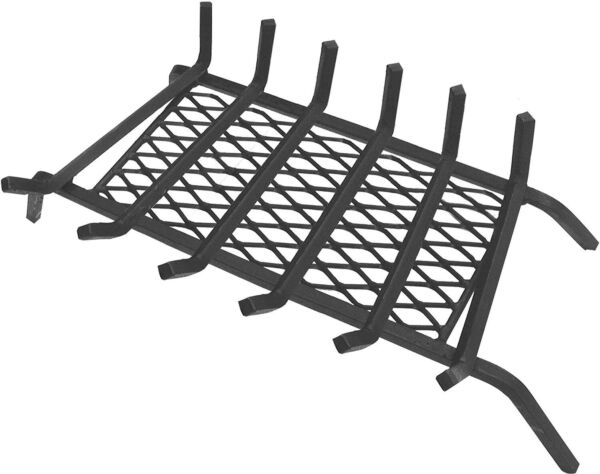 Fireplace Grate 30 Inch Steel 12 in. Solid Square 6 Bars With Ember Retainer
