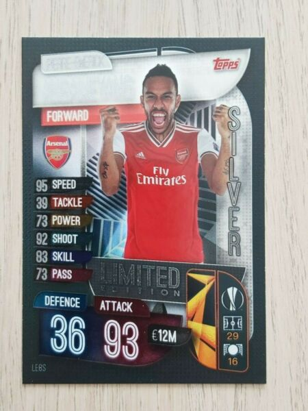 MATCH ATTAX 1920 RARE AUBAMEYANG SILVER LIMITED EDITION LE8S - MINT