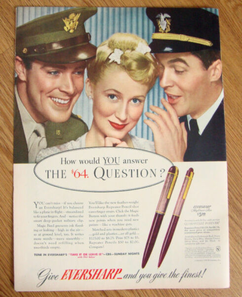 1943 Eversharp Pens Ad The $64 Question?