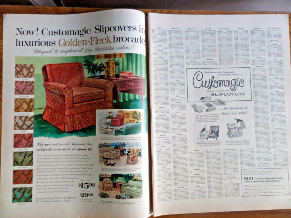 1956 Comfy Manufacturing Co Ad Now Customagic Slipcovers Chairs Sofas $3.00