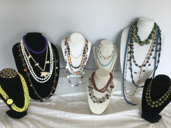 Beautiful 23 Piece Vintage To Now All Plastic Bead Necklace Lot