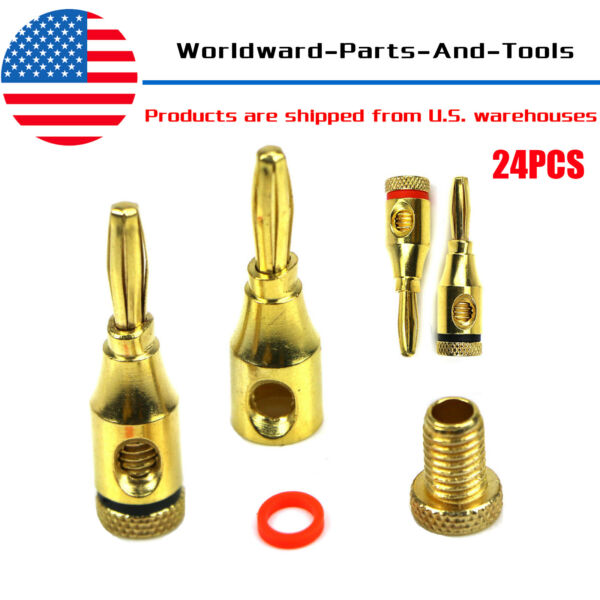 24Pcs 24K Gold Banana Plugs Plug Audio Speaker Wire Cable Screw Connector