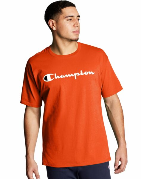 T Shirt Mens Champion Jersey Tee Classic Script Logo Athletic Fit 100% Cotton $13.02