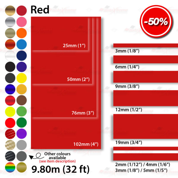 RED Roll PIN STRIPE Car Model Bike Coachline TAPE Decal Vinyl Stickers 2mm 100mm