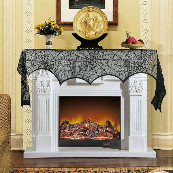Halloween Fireplace Mantel Polyester Scarf Home Decorations Black Lace Spiderweb