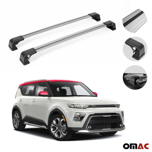 Roof Rack Cross Bars Luggage Carrier 2 Pcs. Silver Set for Kia Soul 2020 2021 $109.90