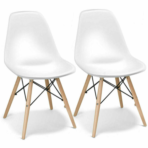 Set of 2 Mid Century Dining Side Chairs Modern DSW wBeech Wood Legs Home White