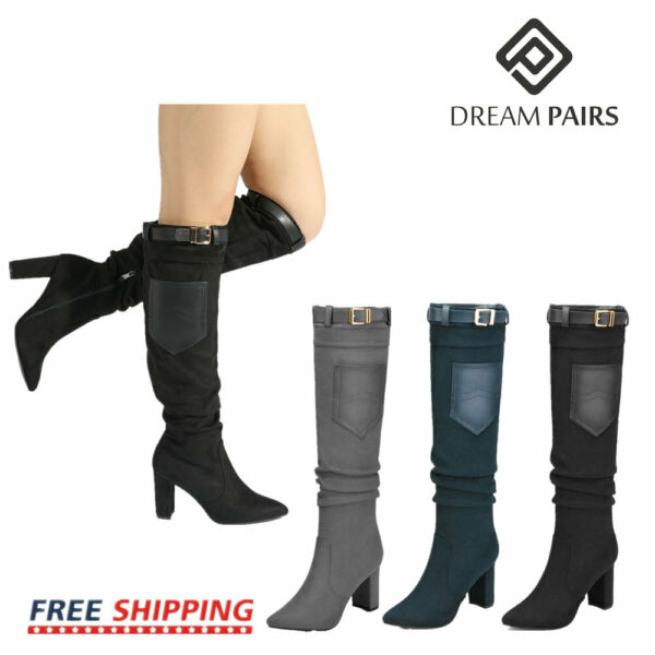DREAM PAIRS Womens Ladies Thigh High Boots Over The Knee Party Stretch High Heel