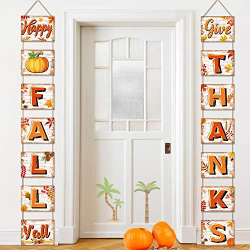 Happy Fall Decorations Banner Fall Signs Cutouts Thanksgiving Harvest Blessings