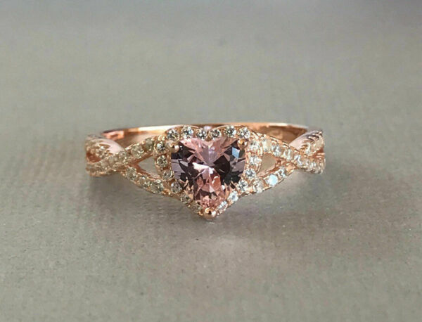 1.55CT Heart-Cut Pink Sapphire Diamond Halo Engagement Ring 10K Rose Gold Over