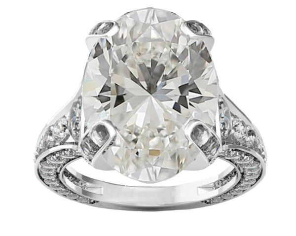 GIA Certified Diamond Engagement Vintage Style Ring 4.80 carat Oval Cut 18k Gold
