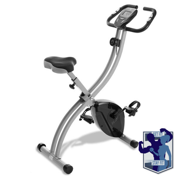 Folding Stationary Upright Indoor Cycling Exercise Bike with LCD Monitor $139.99