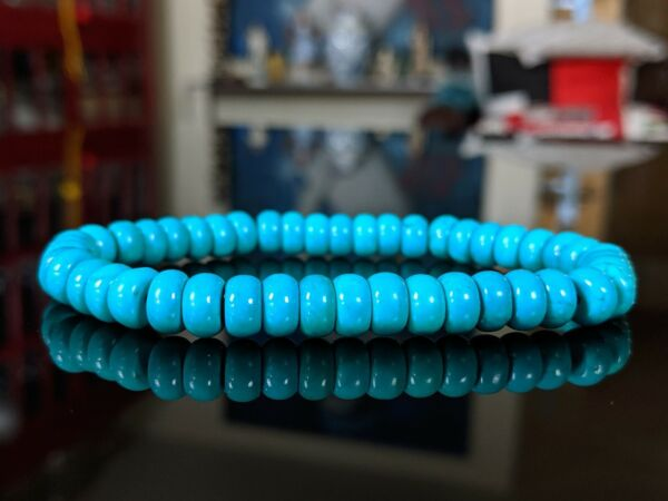 Natural Ma#x27;ashan Turquoise Rondelle NO DYES Bead Bracelet Men Stretch 8mm $20.00