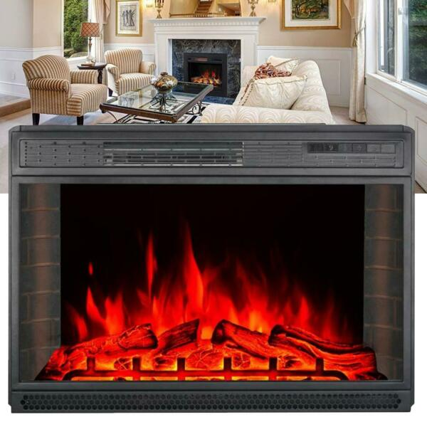 28inch3D Electric Fireplace Insert Heater Glass Log Flame W Remote Control CE