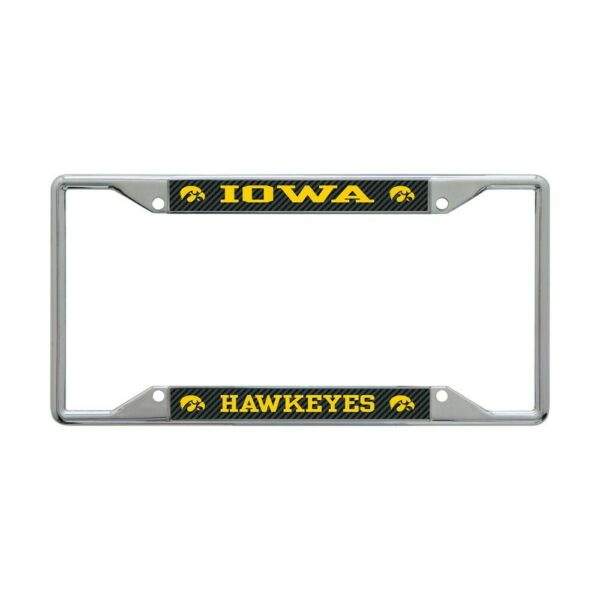 IOWA HAWKEYES CARBON BACKGROUND 6quot;X12quot; METAL LICENSE PLATE FRAME WINCRAFT 👀 $20.00