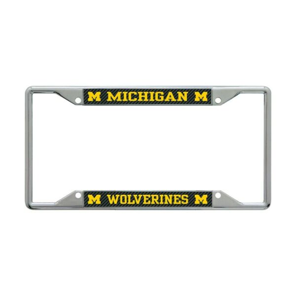 MICHIGAN WOLVERINES CARBON BACKGROUND 6quot;X12quot; METAL LICENSE PLATE FRAME NEW $20.00