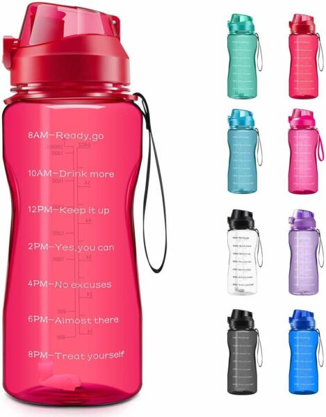 Motivational Water Bottle 2.2L64oz Half Gallon Jug with Straw and Time Marker