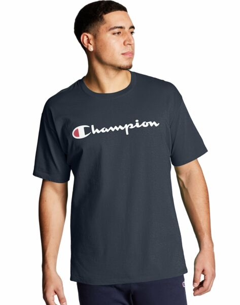 Champion T-Shirt Tee Men's Script Logo Jersey Tee Short Sleeve Authentic Classic $12.04