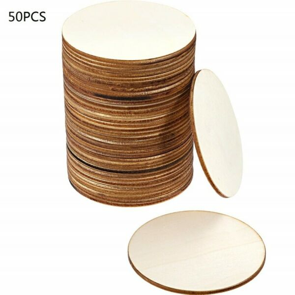 50Pcs DIY Blank Wood Pieces Slice-Round Unfinished Wooden Discs Circles Crafts