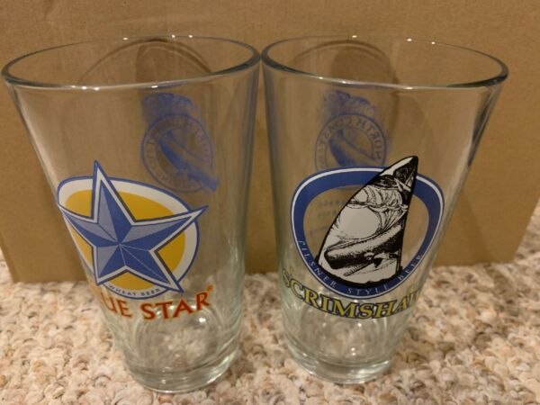 North Coast Brewing Company Pint Glasses - 2 Qty Blue Star & Scrimshaw Pilsner