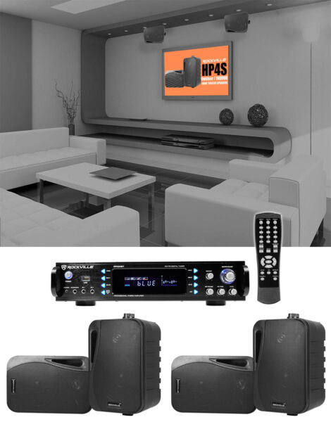 Rockville 1000w Home Theater System w Bluetooth Receiver 4 4quot; Swivel Speakers $244.95