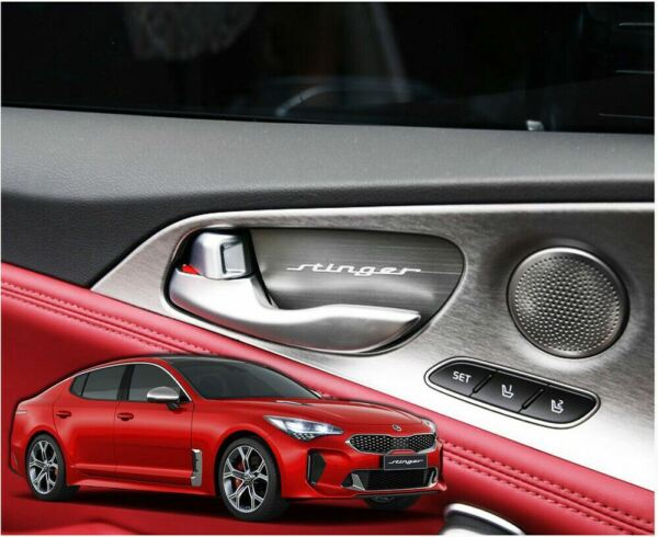 New Interior Aluminum Door Catch Molding Cover for KIA Stinger 17 20 4 Pcs Set