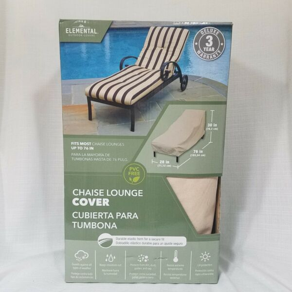 BRAND NEW Chaise Lounge Cover 76quot; x 30quot; x 28quot; Elemental Outdoor Covers PVC Free $40.00