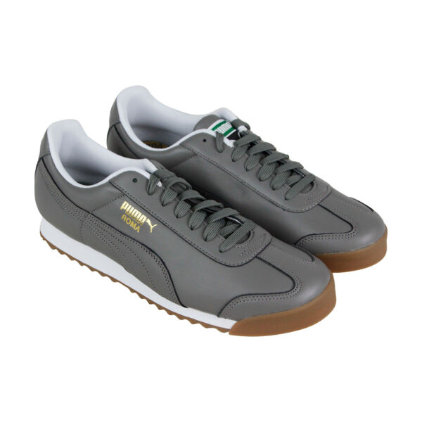 Puma Roma Classic Gum 36640808 Mens Gray Leather Lace Up Low Top Sneakers Shoes