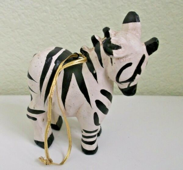 House Of Hatten Vintage Hand Crafted Zebra Ornament with Hanging Ribbon 4