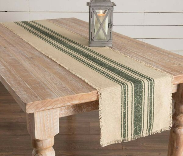 Farmhouse FEED SACK Burlap Table Runner Dark GREEN STRIPES Primitive 72quot; Stripe