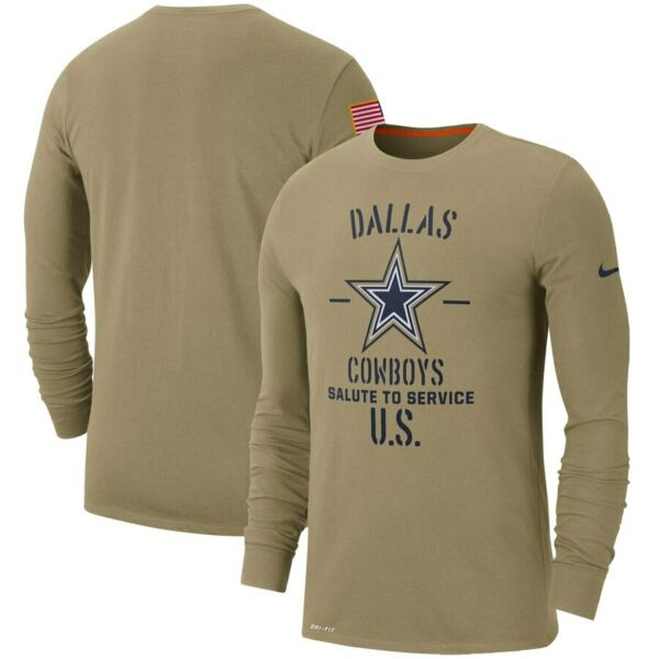 Dallas Cowboys Nike 2019 Salute to Service Sideline Performance Shirt - Tan
