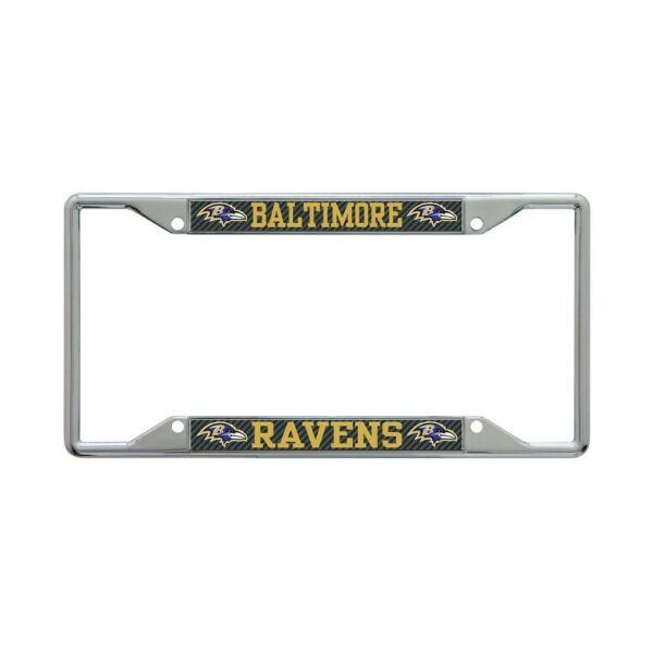 BALTIMORE RAVENS CARBON BACKGROUND 6quot;X12quot; METAL LICENSE PLATE FRAME WINCRAFT $20.00