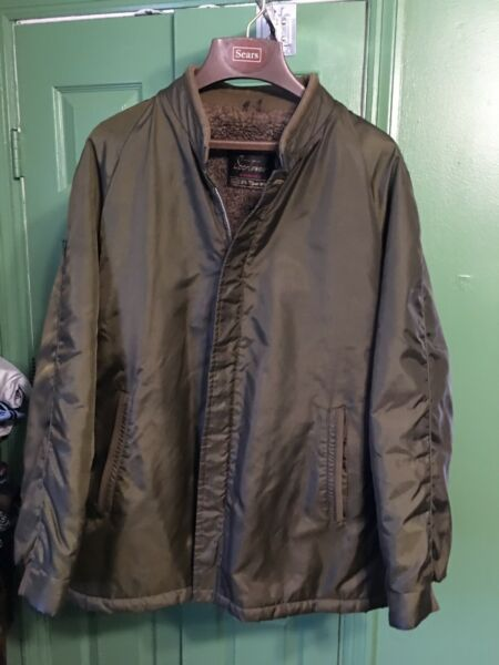 Sears The Mens Store Outerwear OD Green Jacket Faux Fur Lined