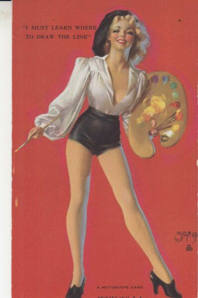 ZOE MOZERT - 1940s art illustrated PIN-UP SEXY ARTIST  MUTOSCOPE ARCADE card