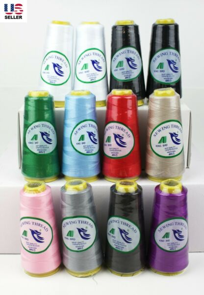 Lot 12 Big Spools Sewing Thread Polyester Assorted Colors 2500 Yards All Purpose