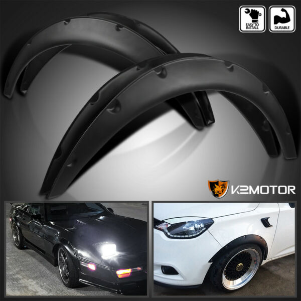 4PC Universal Flexible FrontRear Car Fender Flares Extra Wide Body Wheel Arches $39.38