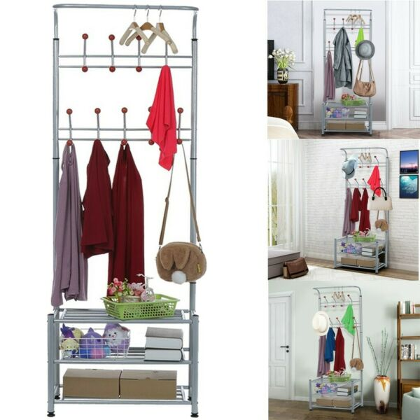 Metal Entryway 10 Hooks Coat Rack with 3 Tier Shoe Rack Bench Hat Umb