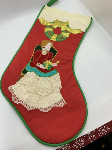 Vintage House of Hatten Applique Christmas Stocking Victorian Lady with Presents