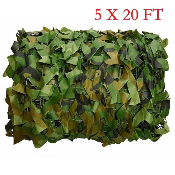 5x20FT Woodland Leaves Camouflage Camo Army Net Netting Camping Military Hunting
