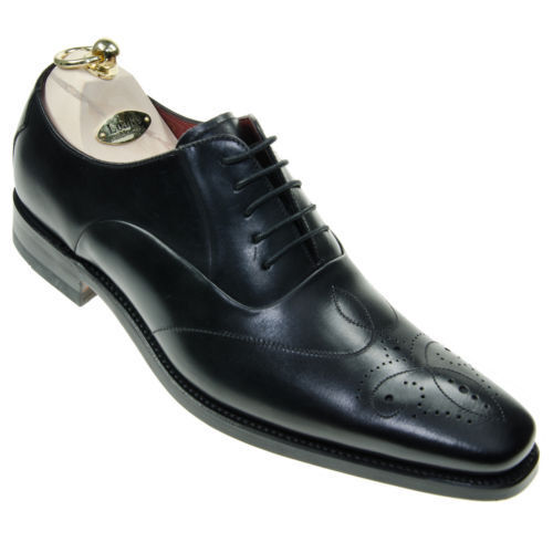 Design Loake 'Gunny' Black Burnished Calf Chisel Toe Stitch Lace Up Oxford