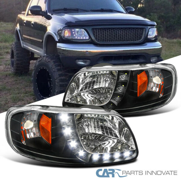 97-03 Ford F150 Expedition Pickup Black SMD LED Headlights Driving Head Lamps